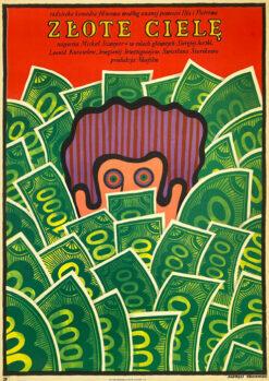 """Polish school of poster, Vintage movie poster PRL """"Złote cielę"""", proj. Andrzej Krajewski, 1969."""
