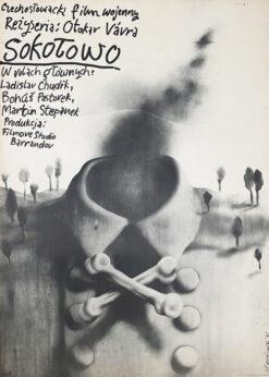 """Polska szkoła plakatu, plakat filmowy vintage PRL """"Sokołowo"""", proj. Jerzy Czerniawski, 1975"""