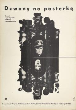 "Polish school of poster, Vintage movie poster PRL ""Dzwony na pasterkę"", proj. Jerzy Flisak, 1963"