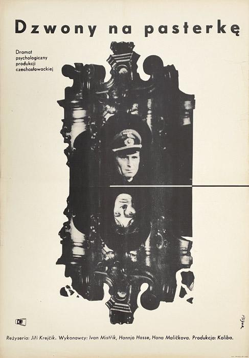 """Polska szkoła plakatu, plakat filmowy vintage PRL """"Dzwony na pasterkę"""", proj. Jerzy Flisak, 1963"""