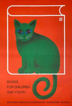 """Polska szkoła plakatu, plakat reklamowy, vintage PRL """"Książki dla dzieci i młodzieży"""", proj. Hubert Hilscher, 1975"""