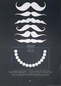 """Polska szkoła plakatu, plakat filmowy vintage PRL """"Najpiekniejsze oszustwa świata"""", proj. Leszek Hołdanowicz, 1966"""