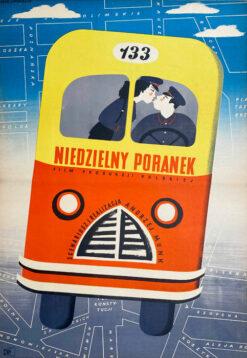 """Polska szkoła plakatu, plakat filmowy vintage PRL """"Niedzielny poranek"""", proj. Eryk Lipiński, 1955"""