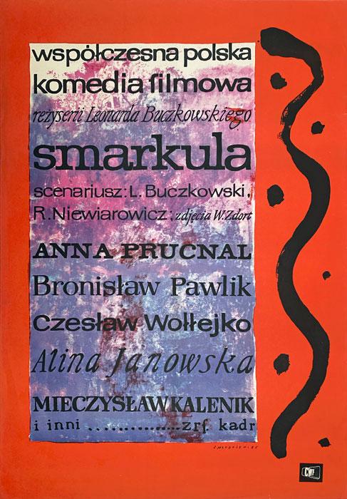 """Polska szkoła plakatu, plakat filmowy vintage PRL """"Smarkula"""", proj. Jan Młodożeniec, 1963"""