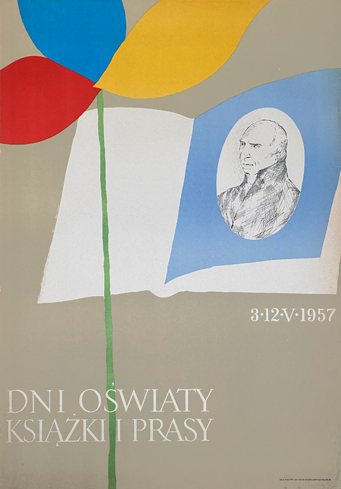 """Polska szkoła plakatu, plakat okolicznościowy vintage PRL """"Dni oswiaty, książki i prasy"""", 1957"""