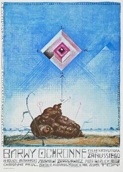 """Polska szkoła plakatu, plakat filmowy vintage PRL """"Barwy ochronne"""", proj. Franciszek Starowieyski, 1977"""