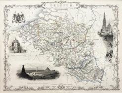 """Original old print engraving """"Mapa Belgii"""", John Tallis, 1851"""