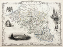 "Oryginalna grafika rycina ""Mapa Belgii"", John Tallis, 1851"