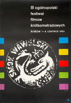 """Polish school of poster, Vintage movie poster PRL """"Festiwal Filmów Krótkometrażowych"""", proj. Waldemar Świerzy, 1963"""