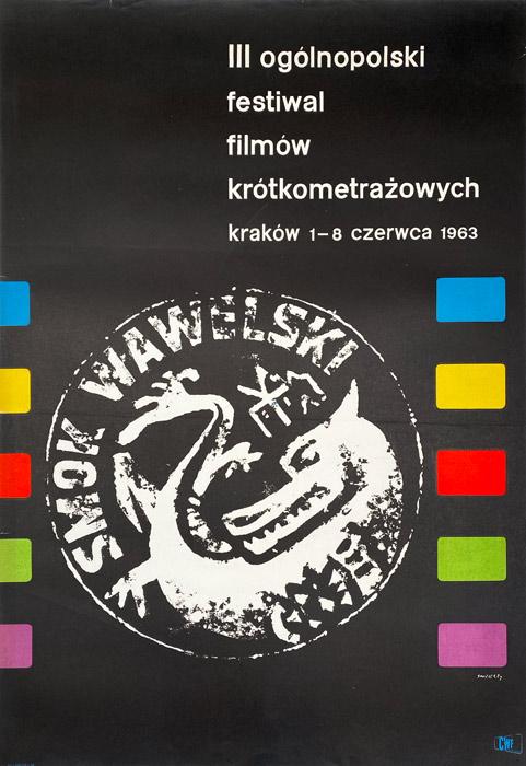 """Polska szkoła plakatu, plakat filmowy vintage PRL """"Festiwal Filmów Krótkometrażowych"""", proj. Waldemar Świerzy, 1963"""