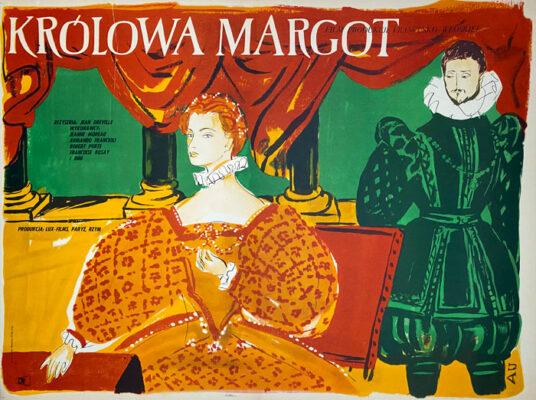 """Polska szkoła plakatu, plakat filmowy vintage PRL """"Królowa Margot"""", proj. Antoni Uniechowski, 1956"""