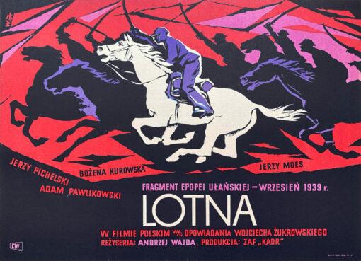 """Polska szkoła plakatu, plakat filmowy vintage PRL """"Lotna"""", proj. Witold Janiszewski, 1959"""