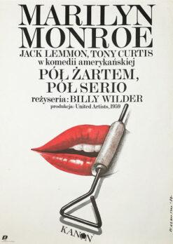 """Polish school of poster, Vintage movie poster PRL """"Pół żartem pół serio"""", proj. Wiesław Wałkuski, 1987"""