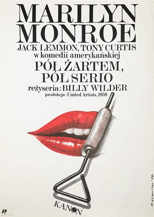 """Polska szkoła plakatu, plakat filmowy vintage PRL """"Pół żartem pół serio"""", proj. Wiesław Wałkuski, 1987"""