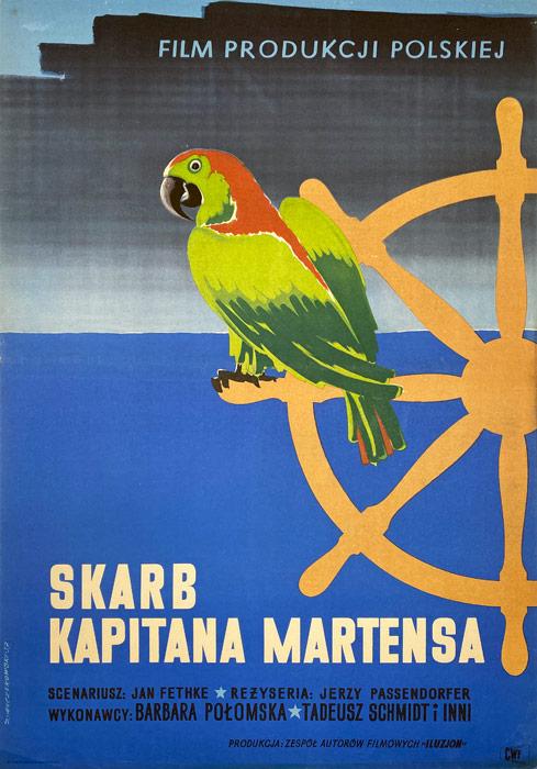 """Polska szkoła plakatu, plakat filmowy vintage PRL """"Skarb kapitana Martensa"""", proj. Zygmunt Anczykowski, 1957"""