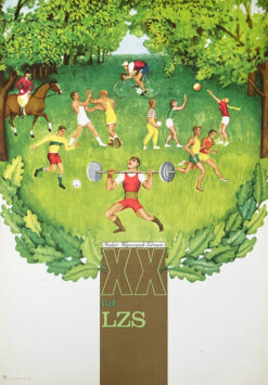"Polish school of poster, Vintage sports poster PRL ""XX lat LZS"""