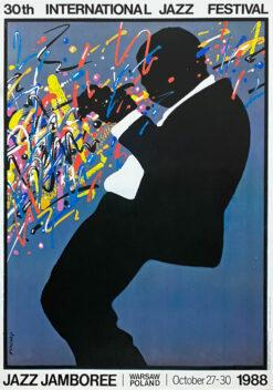 "Polish school of poster, Vintage jazz poster PRL ""Jazz Jamboree"", Waldemar Świerzy, 1988"