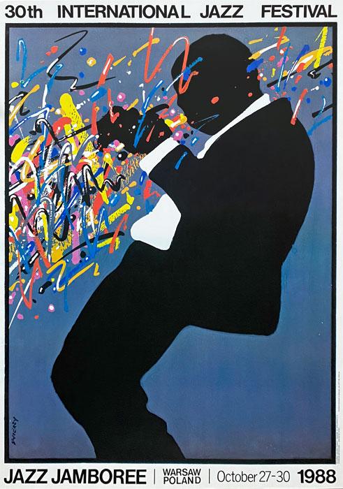 """Polska szkoła plakatu, plakat jazzowy vintage PRL """"Jazz Jamboree"""", Waldemar Świerzy, 1988"""