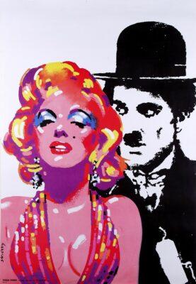 """Polska szkoła plakatu, plakat vintage """"Marilyn i Chaplin"""", proj. Waldemar Świerzy, 1992."""