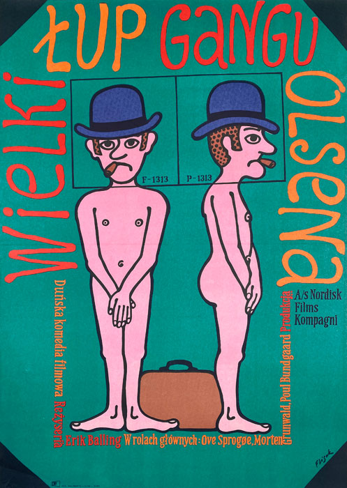 """Polska szkoła plakatu, plakat filmowy vintage PRL """"Wielki łup gangu Olsena"""", proj. Jerzy Flisak, 1974"""