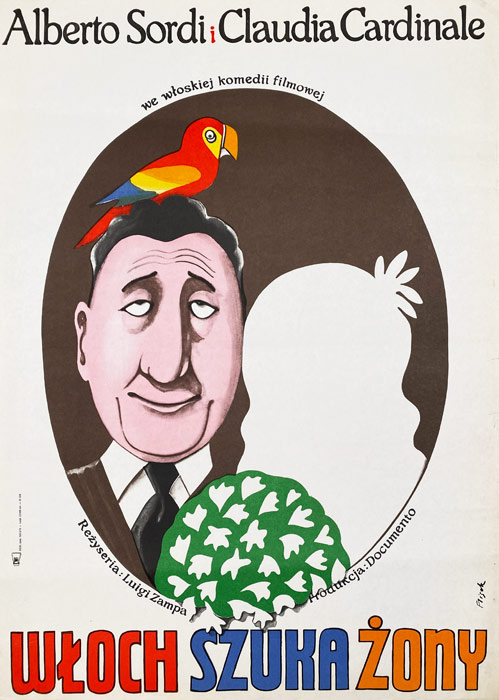 """Polska szkoła plakatu, plakat filmowy vintage PRL """"Włoch szuka żony"""", proj. Jerzy Flisak, 1974"""
