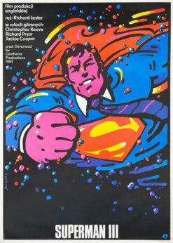 """Plakat filmowy """"SUPERMAN 3"""" Waldemar Świerzy, 1985"""