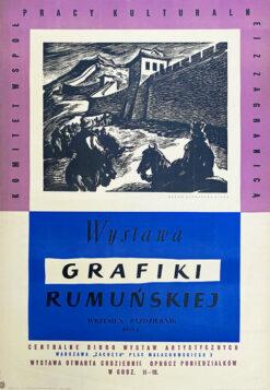 """Polska szkoła plakatu, plakat wystawowy vintage PRL """"Wystawa grafiki rumuńskiej"""", 1955"""