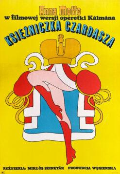 """Polska szkoła plakatu, plakat filmowy vintage PRL """"Księżniczka czardasza"""" Maciej Żbikowski, 1972"""
