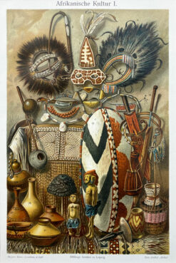 "Oryginalna stara grafika, rycina ""Kultura Afryki"", Meyers, ok. 1880"