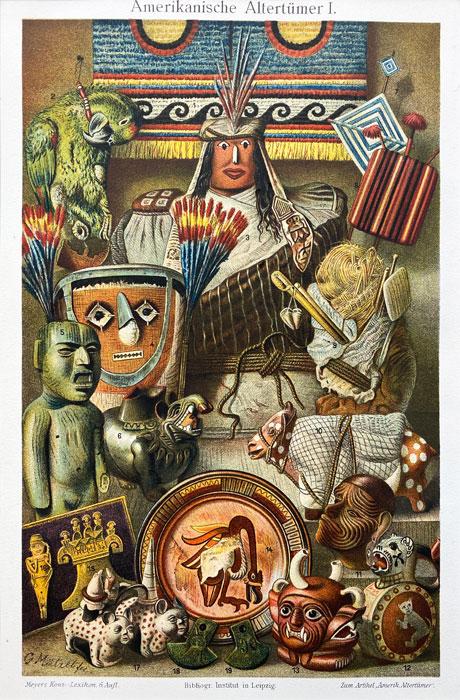 """Oryginalna stara grafika, rycina """"Amerykańskie antyki"""", Meyers, ok. 1880"""