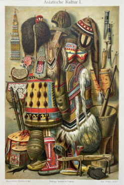 "Oryginalna stara grafika, rycina ""Kultura Azji"", Meyers, ok. 1880"