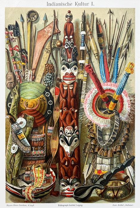 "Oryginalna stara grafika, rycina ""Kultura Indii"", Meyers, ok. 1880"