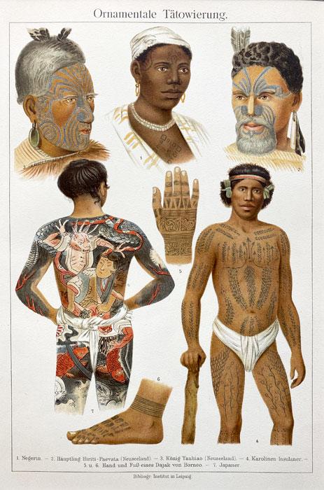 """Oryginalna stara grafika, rycina """"Ornamental tatoo"""", Meyers, ok. 1880"""