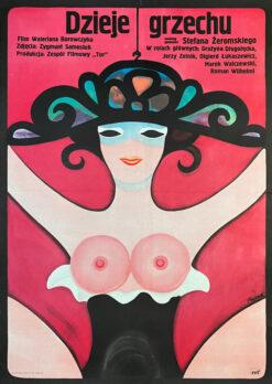 """Polska szkoła plakatu, plakat filmowy vintage PRL """"Dzieje grzechu"""", proj. Jerzy Flisak, 1975"""