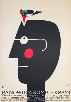 """Polska szkoła plakatu, plakat filmowy vintage PRL """"Panowie z kompleksami"""", proj. Jerzy Flisak, 1968"""