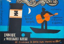 """Polska szkoła plakatu, plakat filmowy vintage PRL """"Dwoje z wielkiej rzeki"""", Marian Stachurski, 1958"""