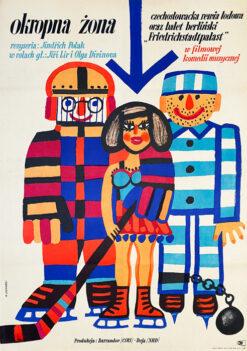"Polska szkoła plakatu, plakat filmowy vintage PRL ""Okropna żona"", Marian Stachurski, 1966"