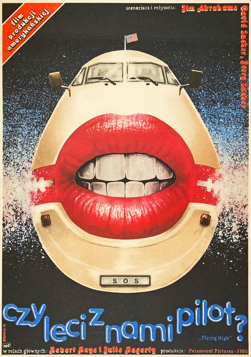 """Polska szkoła plakatu, plakat filmowy vintage PRL """"Czy leci z nami pilot"""", proj. Witold Dybowski, 1984"""