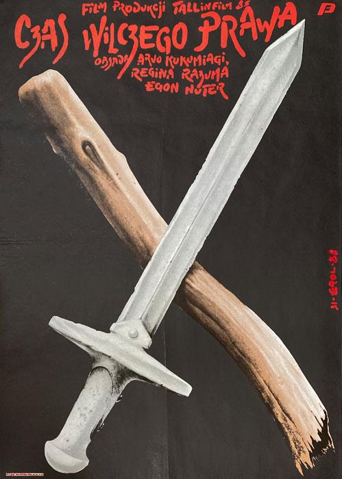 """Polska szkoła plakatu, plakat filmowy vintage """"Czas wilczego prawa"""", proj. Jakub Erol, 1986"""