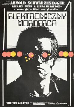 "Polska szkoła plakatu, plakat filmowy vintage PRL ""Elektroniczny morderca"" (Terminator), proj. Jakub Erol, 1987"