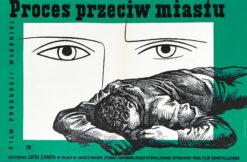 """Polska szkoła plakatu, plakat filmowy vintage PRL """"Proces przeciw miastu"""", Wojciech Fangor, Wojciech Zamecznik, 1954"""
