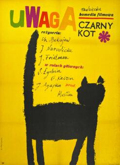 """Polska szkoła plakatu, plakat filmowy vintage PRL """"Uwaga czarny kot"""", proj. Maria Ihnatowicz Mucha, 1966"""
