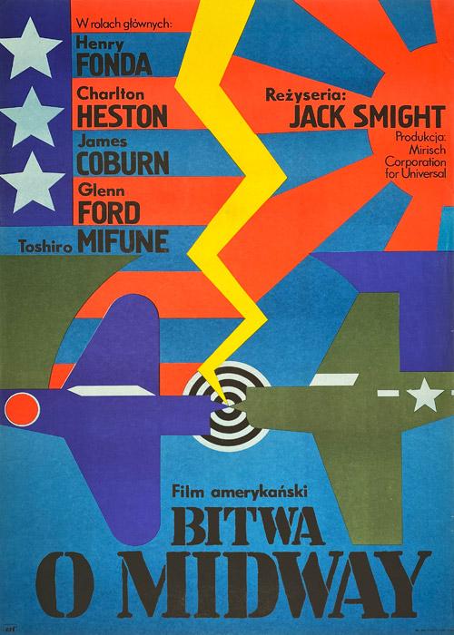 """Polska szkoła plakatu, plakat filmowy vintage PRL """"Bitwa o Midway"""", proj. Andrzej Krajewski, 1977"""