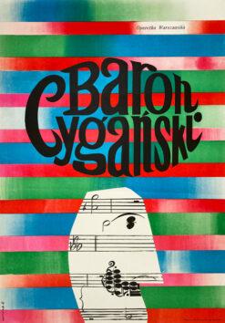 "Polska szkoła plakatu, plakat teatralny vintage PRL ""Baron cygański"", Józef Mroszczak, 1966"