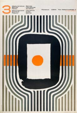"""Polska szkoła plakatu, plakat wystawowy vintage PRL """"3 Międzynarodowe Biennale Plakatu"""", proj. Józef Mroszczak, 1970"""