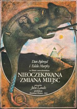 """Polska szkoła plakatu, plakat filmowy vintage PRL """"Nieoczekiwana zmiana miejsc"""", proj. Janusz Obłucki, 1985"""