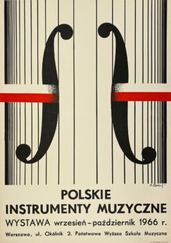 """Polska szkoła plakatu, plakat wystawowy vintage PRL """"Polskie instrumenty Muzyczne"""", proj. Maciej Raducki, 1966"""