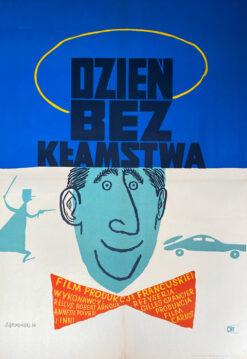"""Polska szkoła plakatu, plakat filmowy vintage PRL """"Dzień bez kłamstwa"""", Jerzy Srokowski, 1954"""