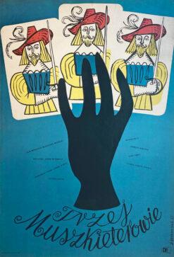 """Polska szkoła plakatu, plakat filmowy vintage PRL """"Trzej muszkieterowie"""", Jerzy Srokowski, 1955"""