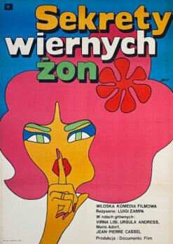 """Polska szkoła plakatu, plakat filmowy vintage PRL """"Sekrety wiernych żon"""" Maciej Żbikowski, 1969"""